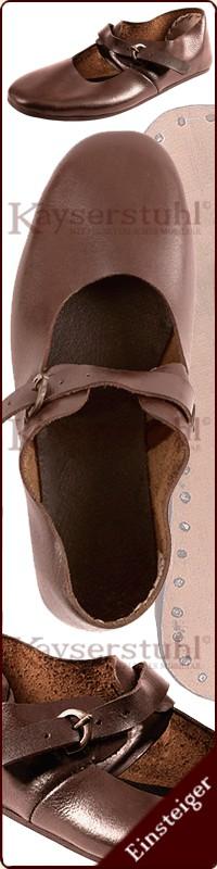 Wikinger Bundschuhe aus Leder, braun, Mittelalter Schuhe